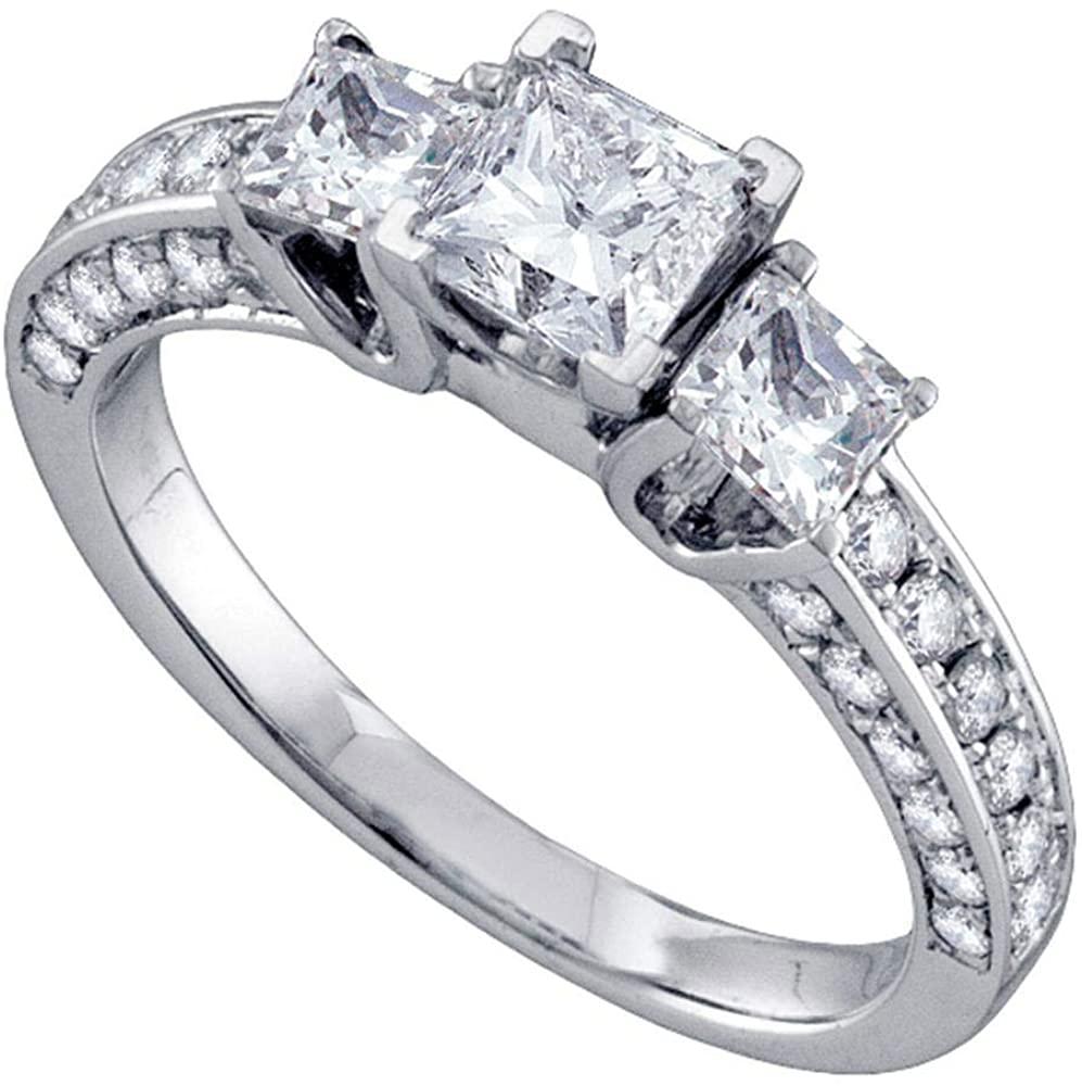 Dazzlingrock Collection 14kt White Gold Princess Diamond Princess Bridal Wedding Engagement Ring 1-1/2 Cttw