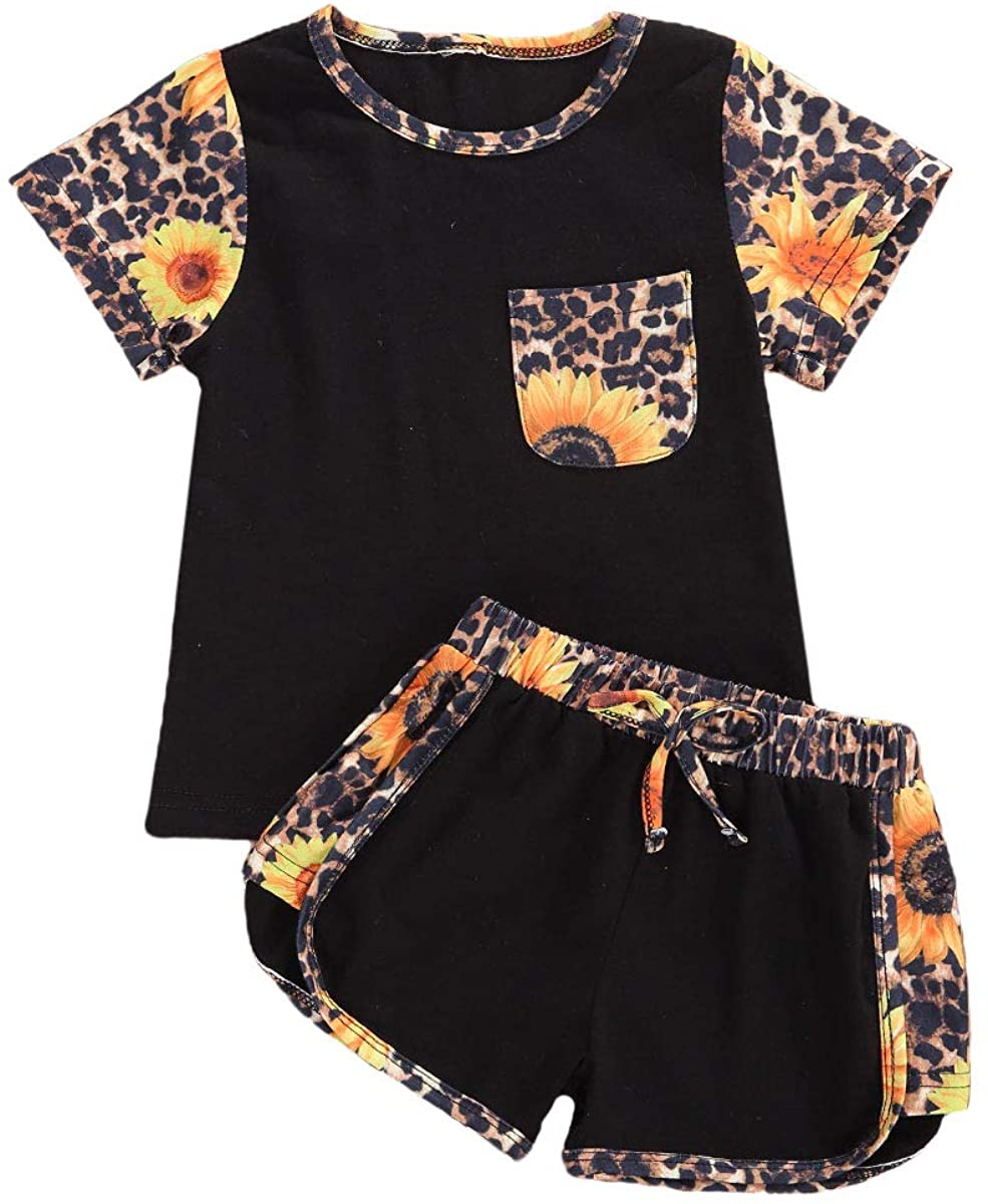 2Pcs Kids Baby Girls Summer Outfits Leopard Print Pocket Short Sleeve T-Shirt Top + Sports Shorts Clothes Set 1-6Y