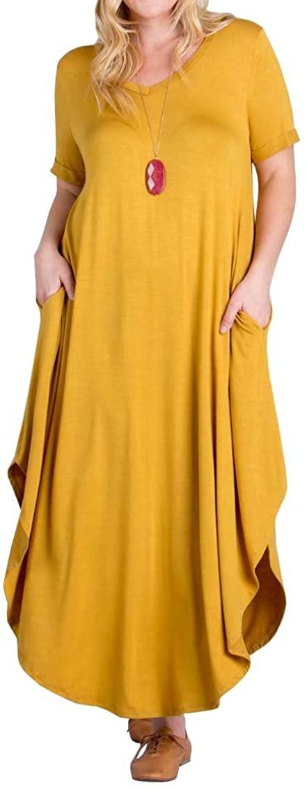 Women's Plus Size Maxi Dresses Short Sleeve Casual Summer Plain Split Long Dress with Pockets