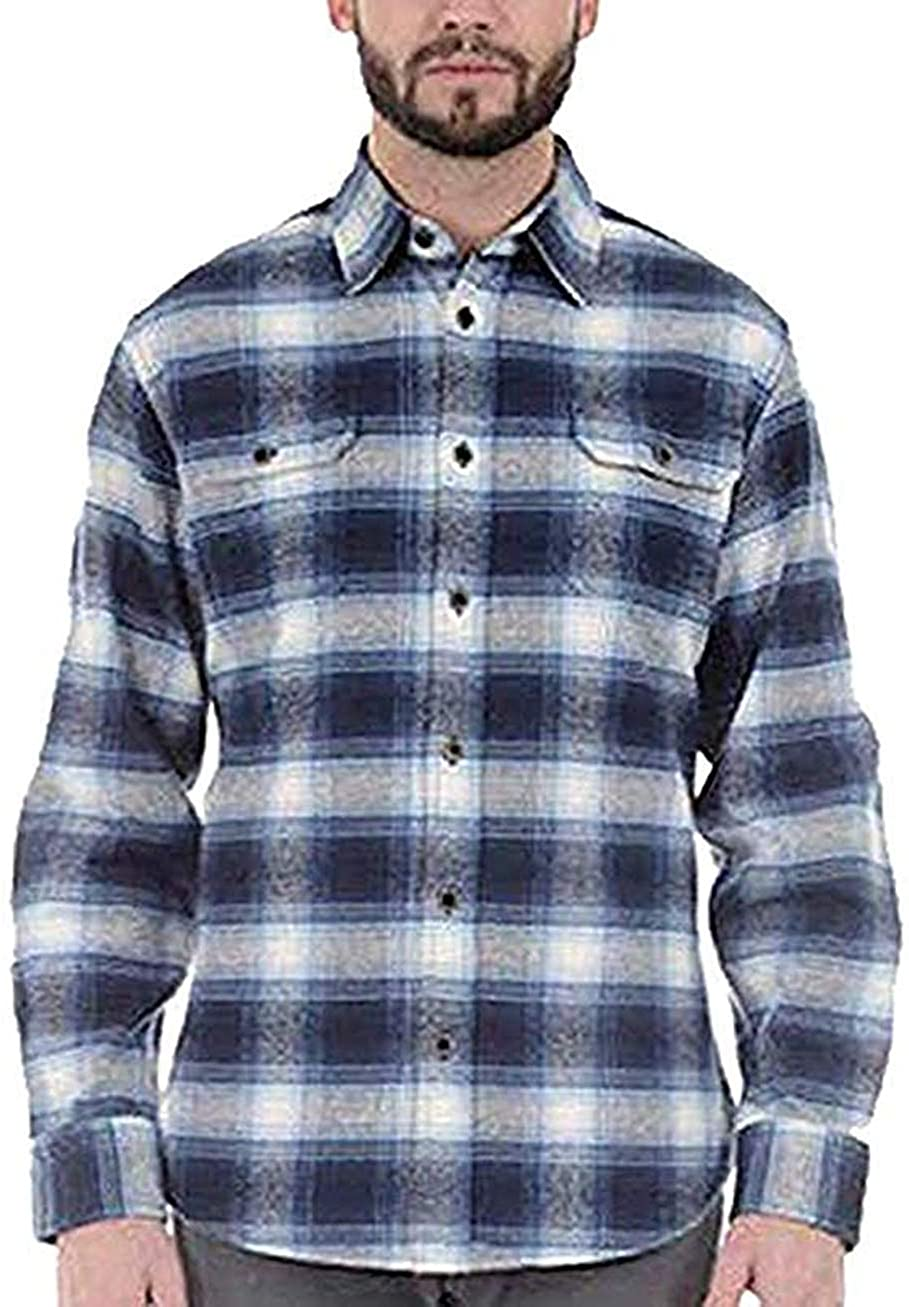JACHS Men's Brawny Flannel Shirt (M, Blue/Navy/White)