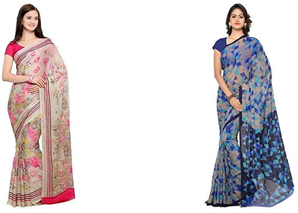 Indian Decor & Attire Women's Saree with Blouse Piece(Pack of 2)(CC1018&RC3230_Item 1 Color Beige|Item 2 Color Blue_One Size)