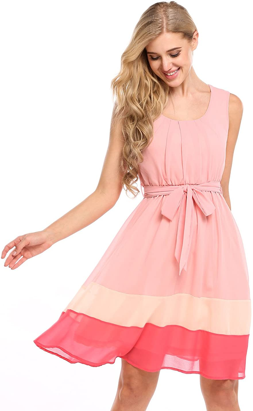 Zeagoo Womens Sweet Sleeveless Fit and Flare Colorblock Casual Chiffon Dress With Belt (Pink, X-Large)