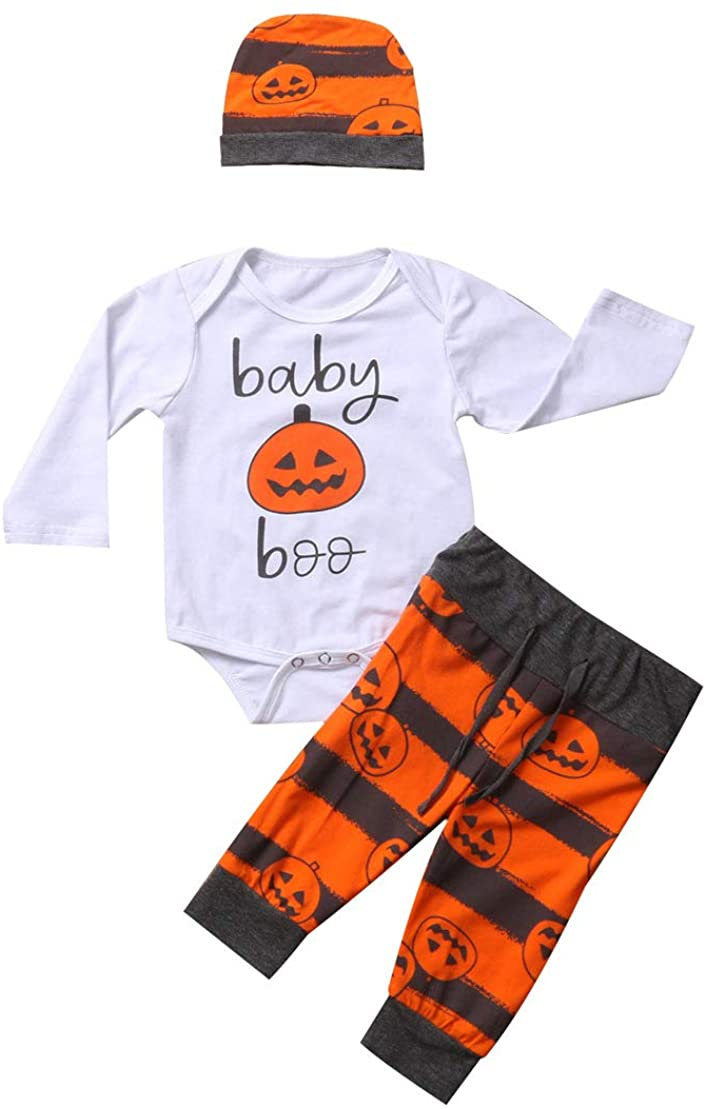 Infant Baby Newborn My First Halloween Pumpkin Romper Clothes+Orange Pants+Cute Hat 3 PCS Outfit Clothes Set (12-18 Months, P-Halloween Pumpkin Clothes Set)