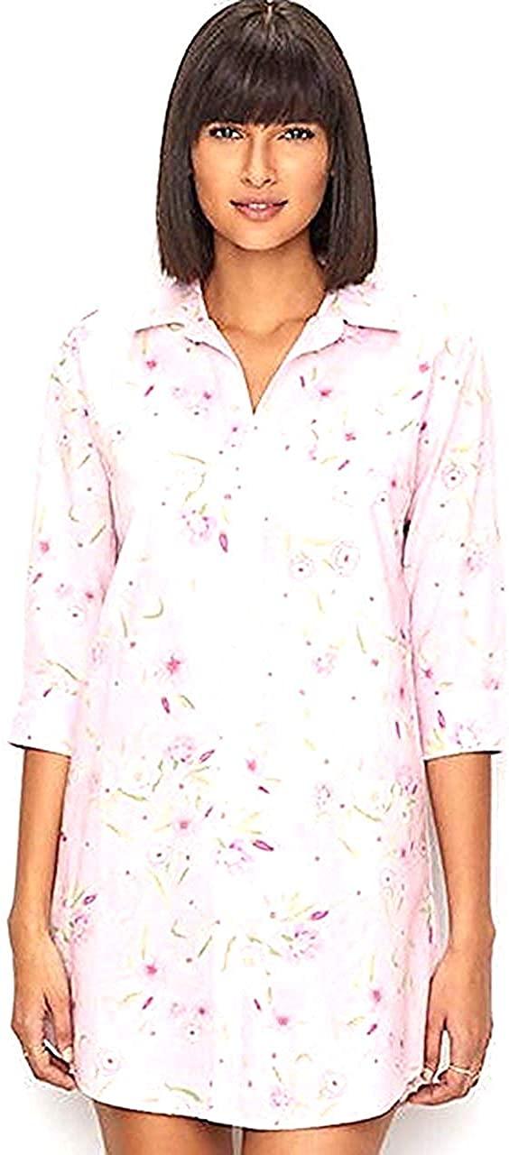 Ralph Lauren Sleepshirt Pink Floral Elbow SLV Cotton Blend, X-Large