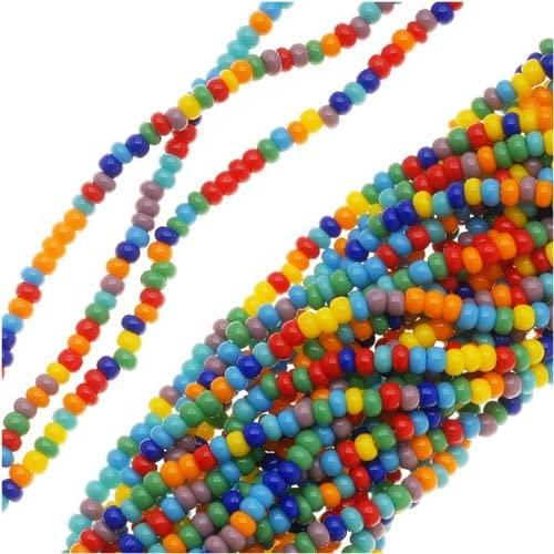 Jablonex Czech Seed Beads Mix, Size 11/0, Rainbow Opaque Multi, 1 Hank Per 4000 Beads