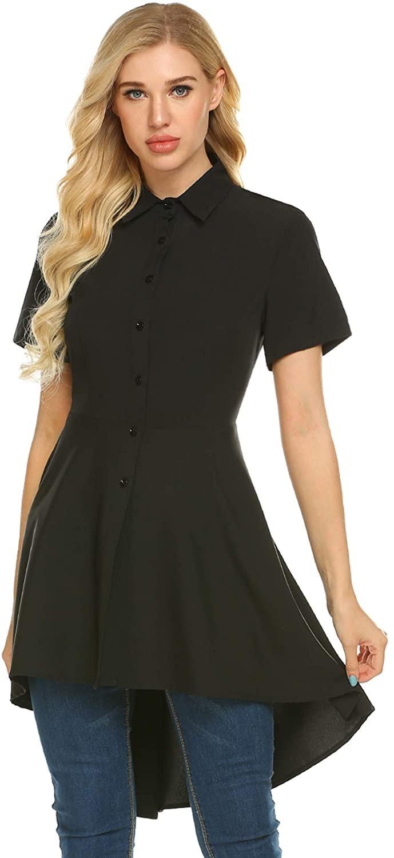 Zeagoo Women's Long Sleeve Asymmetrical Hem Collared Shirt Top