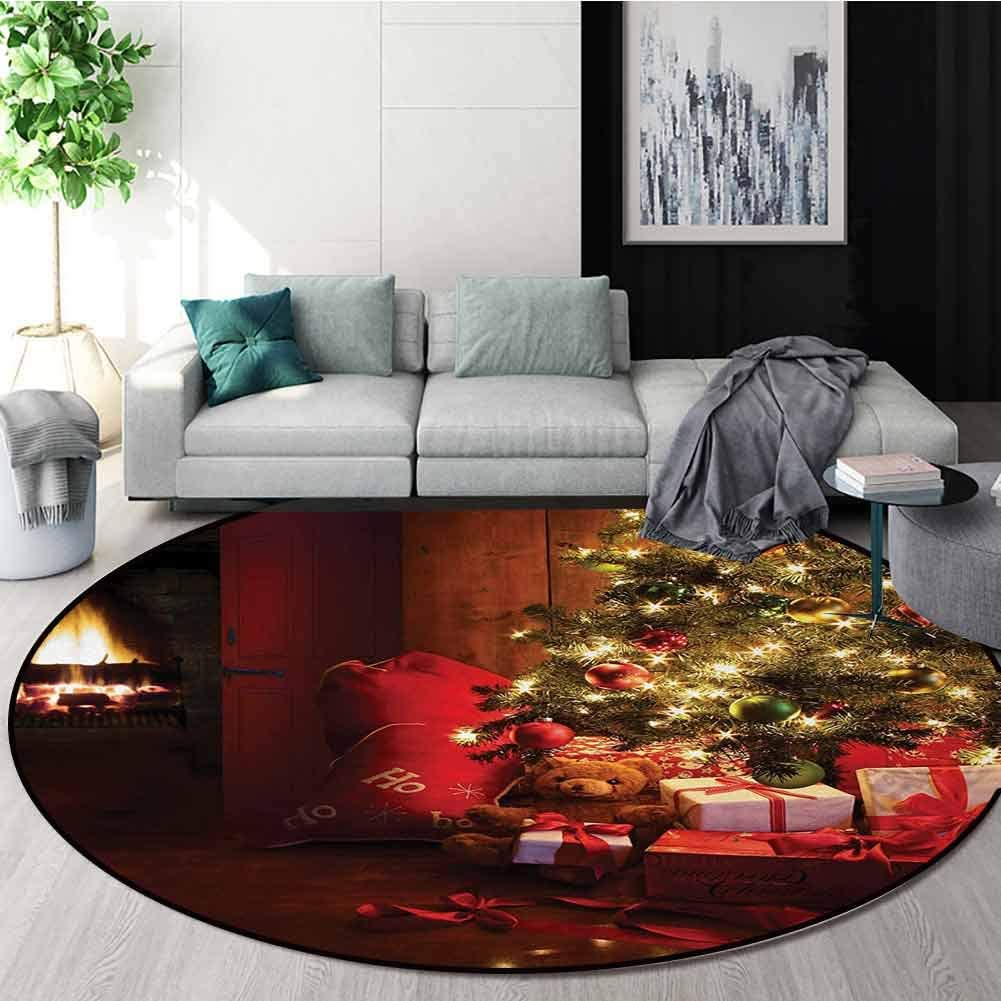 Christmas Non-Slip Area Rug Pad Round,Xmas Scene With Decorated Luminous Tree And Gifts By The Fireplace Artful Image Protect Floors While Securing Rug Making Vacuuming Diameter-51 Inch,Red Yellow