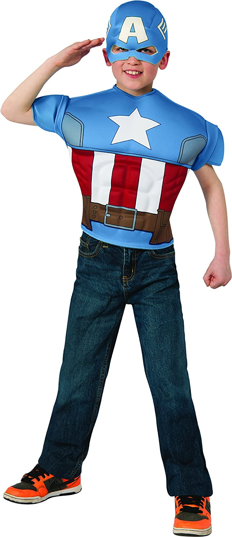 Avengers Assemble Marvel Captain America Muscle Chest Shirt Child Costume