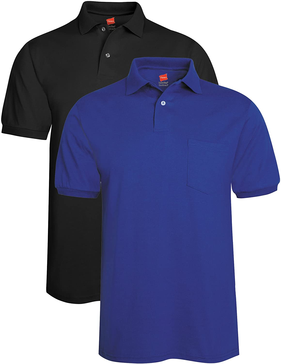 Hanes Men's 2 Pack Short Sleeve Jersey Pocket Polo, Black/Deep Royal, Large