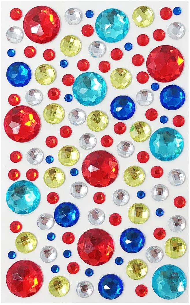allydrew Acrylic Self Adhesive Crystal Rhinestone Gem Stickers, Jewel Primary Colors