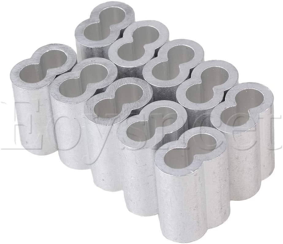 Ochoos 10PCS M8 Double Hole Wire Rope Aluminum Clamp Clip Cover