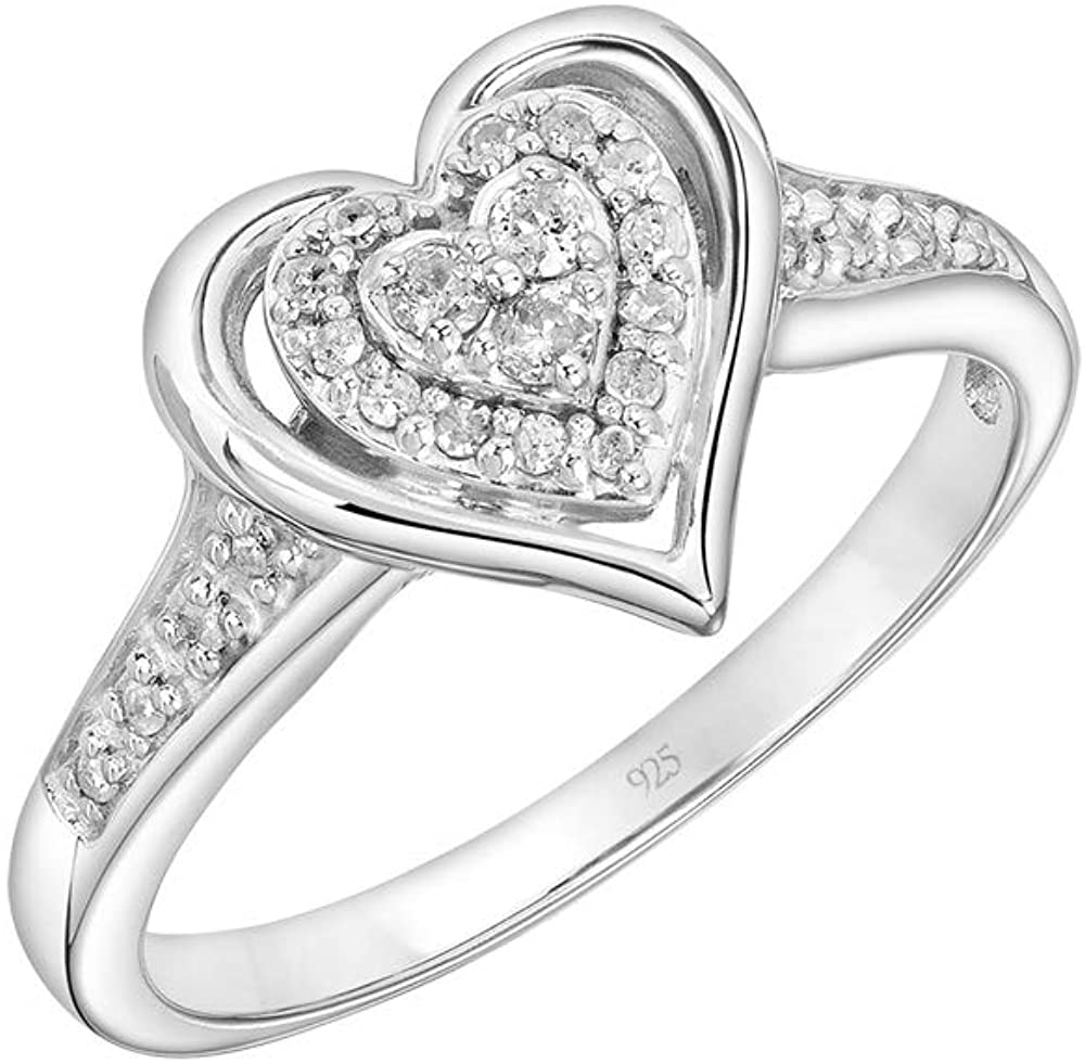 Brilliant Expressions .925 Sterling Silver 1/6 Cttw Conflict Free Diamond Nested Halo Heart Fashion Ring (I-J Color, I2-I3 Clarity)