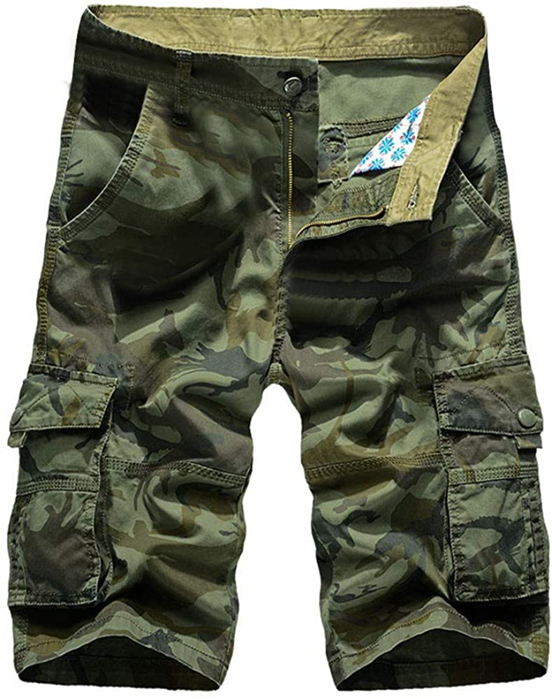 MODOQO Men's Military Cargo Shorts, Summer Fashion Big and Tall Camo Retro Tooling Shorts