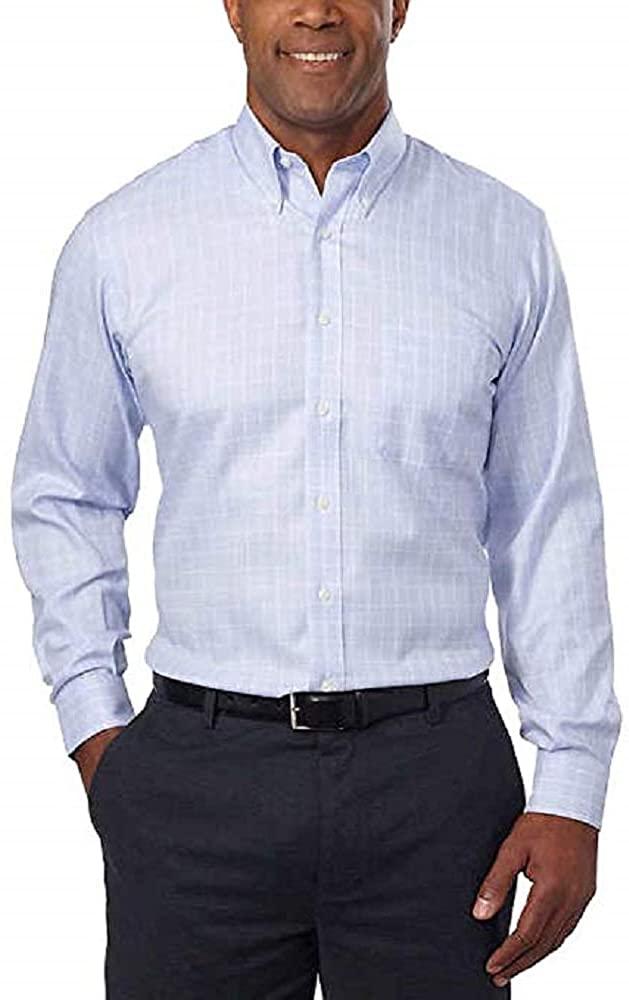 Kirkland Signature Men's Traditional Fit Dress Shirt (Blue Window Pane,18 x 34/35)