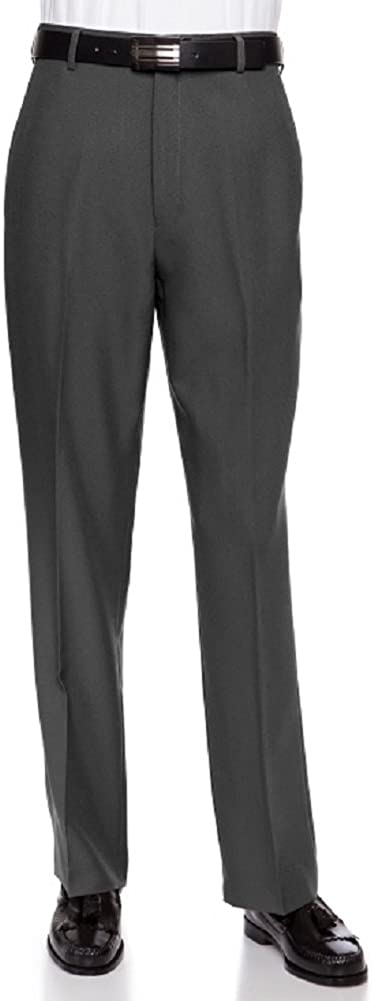 Mens Flat Front Dress Pants Charcoal