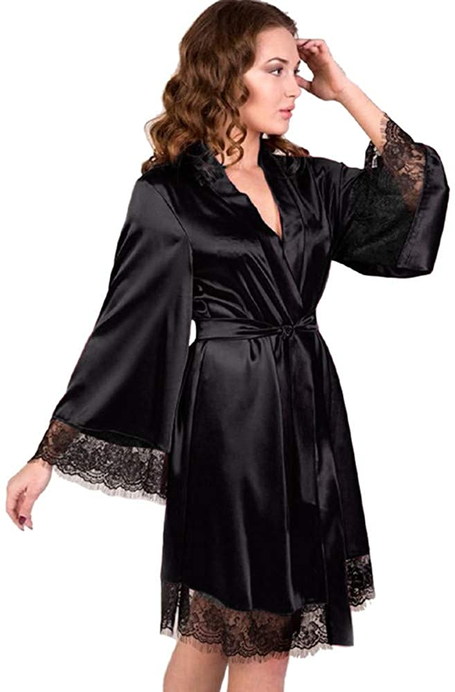 Lace Robes for Women Sexy,Pure Color Kimono Satin Temptation Bridesmaids Sleepwear with Oblique V-Neck Tigivemen
