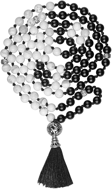 Axellea Mala Beads Yin Yang Stone Necklace 108 Mala Beads Black Necklace Howlite Black Onyx Gem Stones Meditation Necklace 108 Hand Knotted Japa Mala Beaded Tassel Necklace Howlite Mala Necklace 108