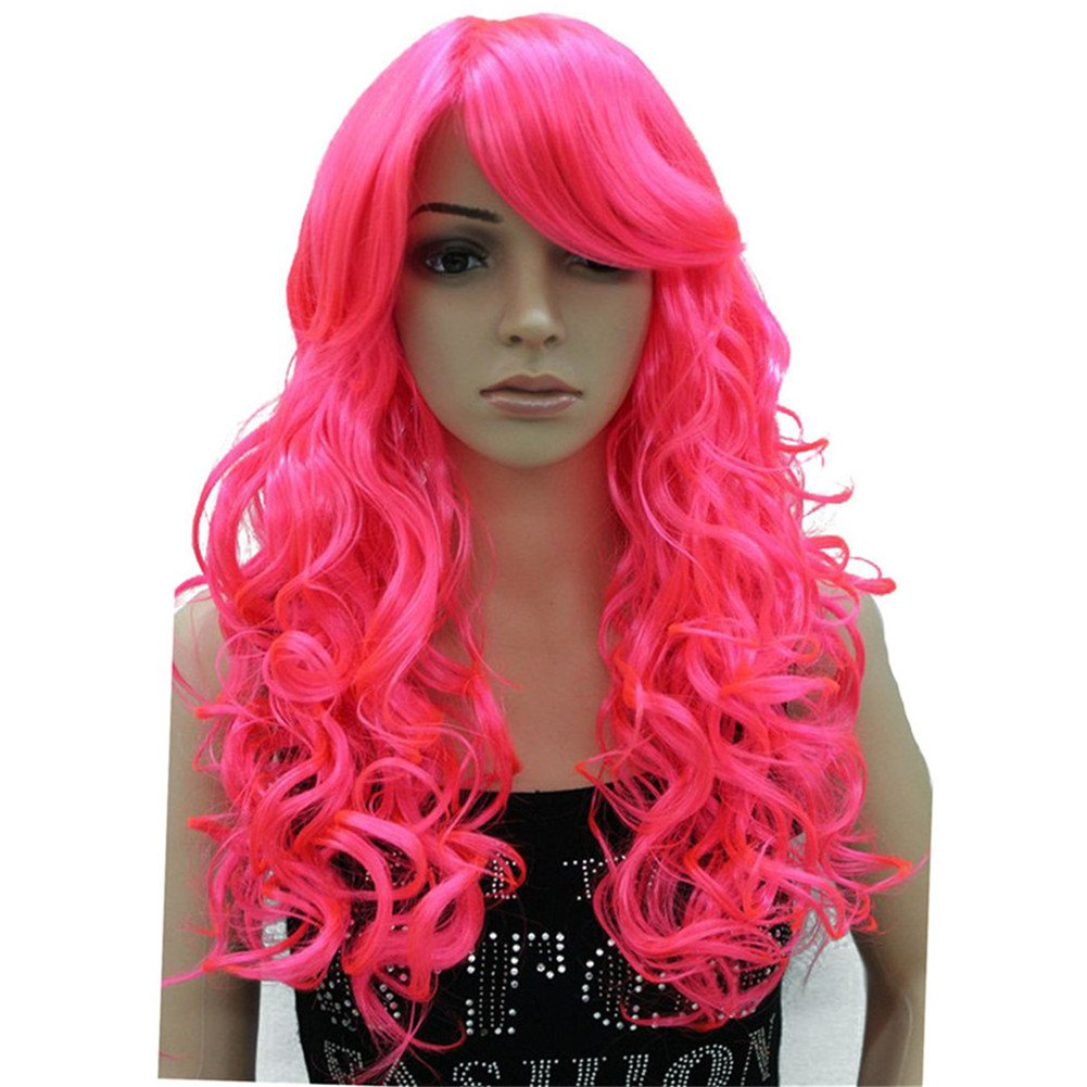 Aimole Cosplay Wig Women's Party Pink Long Curly Hair with Bang Synthetic Full Wigs(KC17-Pink)