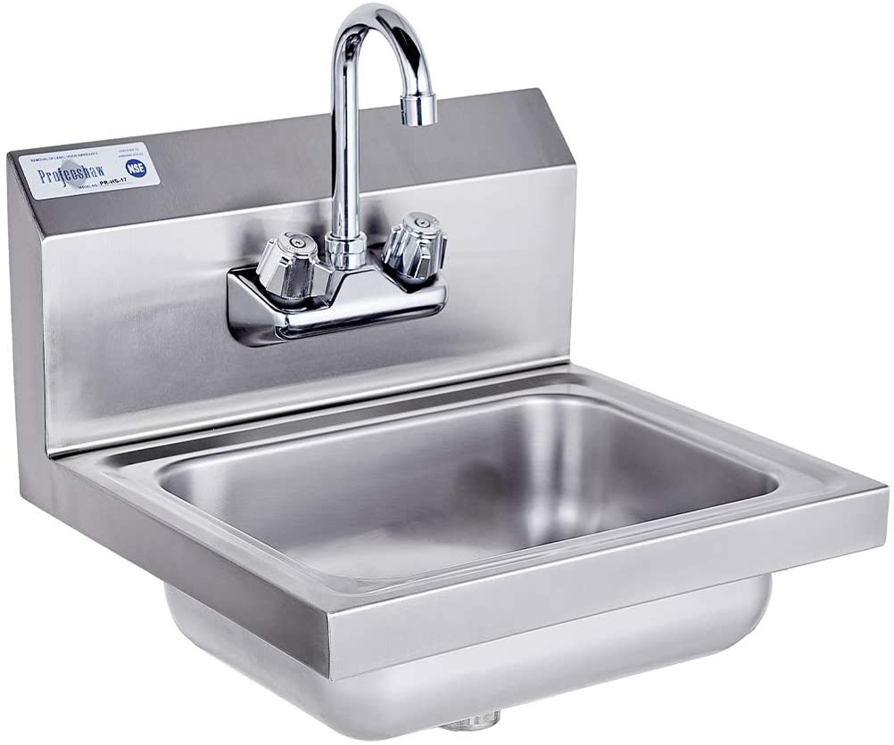 Profeeshaw Stainless Steel Sink Commercial Wall Mounted Hand Washing Basin NSF with Gooseneck Faucet for Kitchen or Bar 17