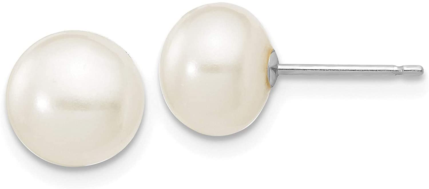 14k WG 7-8mm White Button Freshwater Cultured Pearl Stud Post Earrings in 14k White Gold