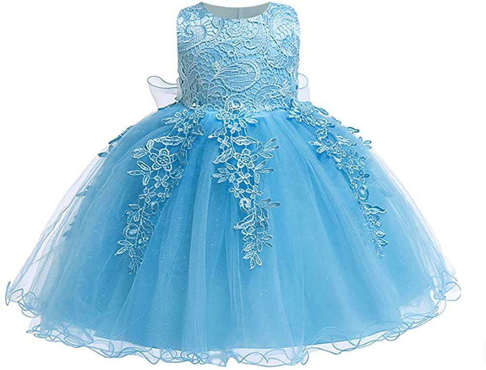 LZH Baby Girls Formal Dress Bowknot Birthday Wedding Party Flower Lace Dress