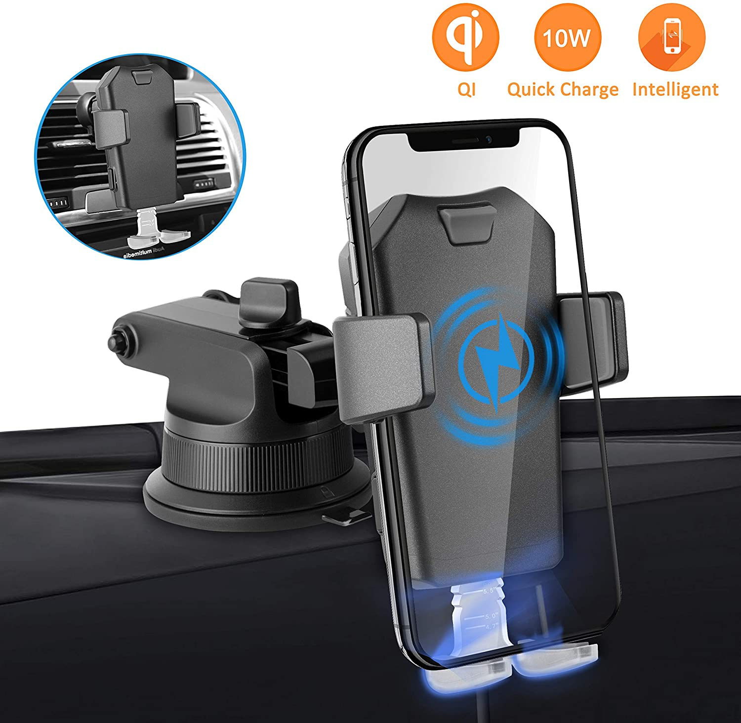 Wireless Car Charger Mount, SendowTek Auto Clamping 10W/7.5W Qi Fast Charging Car Phone Holder Windshield Dashboard Air Vent Car Mount Compatible with Phone Xs/Xs Max/8 Plus/8, Samsung S10+ S10 S9