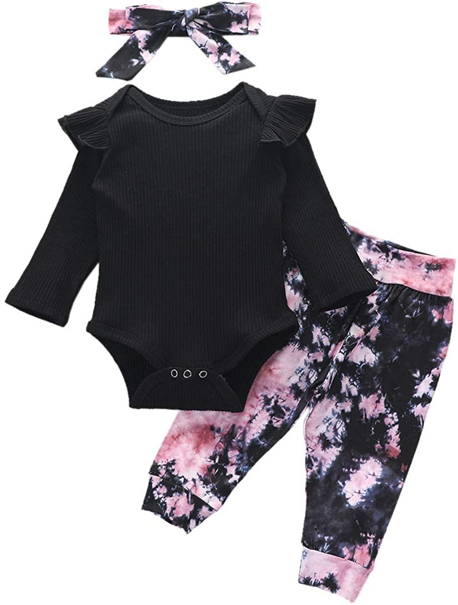 ODASDO Infant Baby Girl Tie Dye Outfit Ruffle Long Sleeve Romper Bodysuit + Pants + Headband 3pcs Casual Pajamas