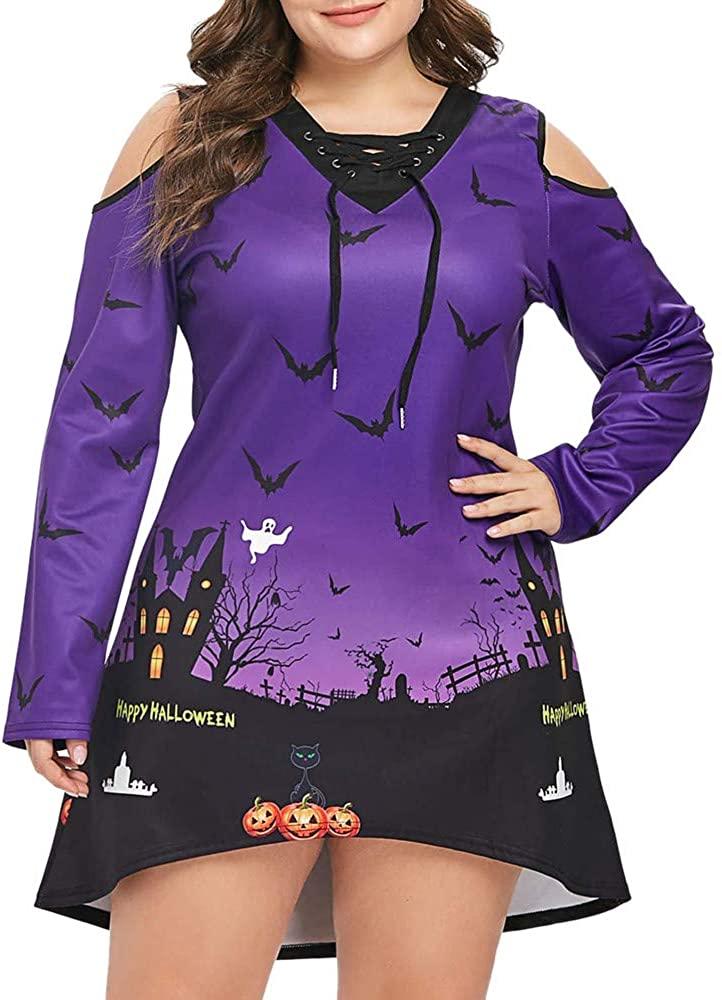 ZEFOTIM Halloween Dresses 2019, Women Plus Size Terror Night Sky Bat Cold Shoulder Halloween Short Mini Dress