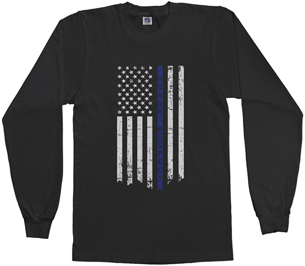Threadrock Big Boys Honor Respect Thin Blue Line Flag Youth L/S T-Shirt