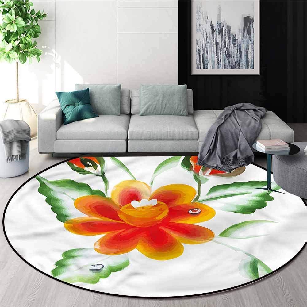 RUGSMAT Garden Super Soft Circle Rugs for Girls,Daffodils in Watercolors Floor Mat Home Decor Diameter-51