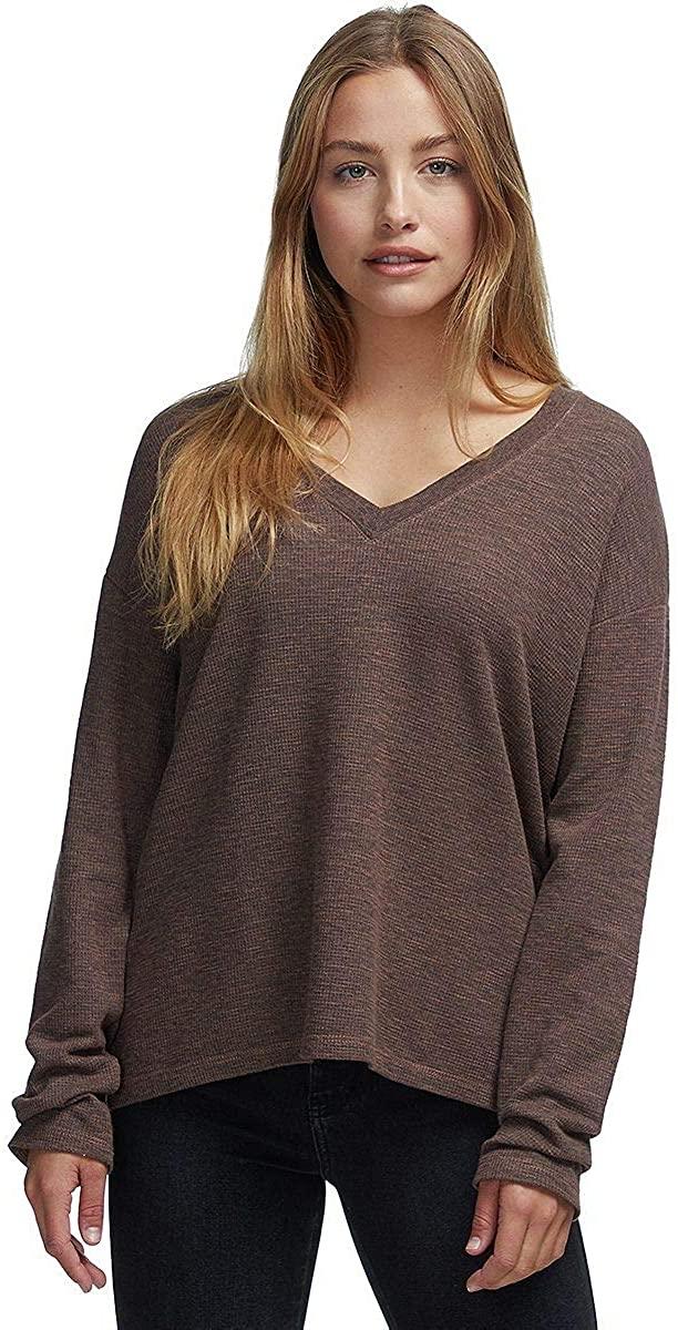 Monrow V-Neck Thermal Sweatshirt Top - Women's