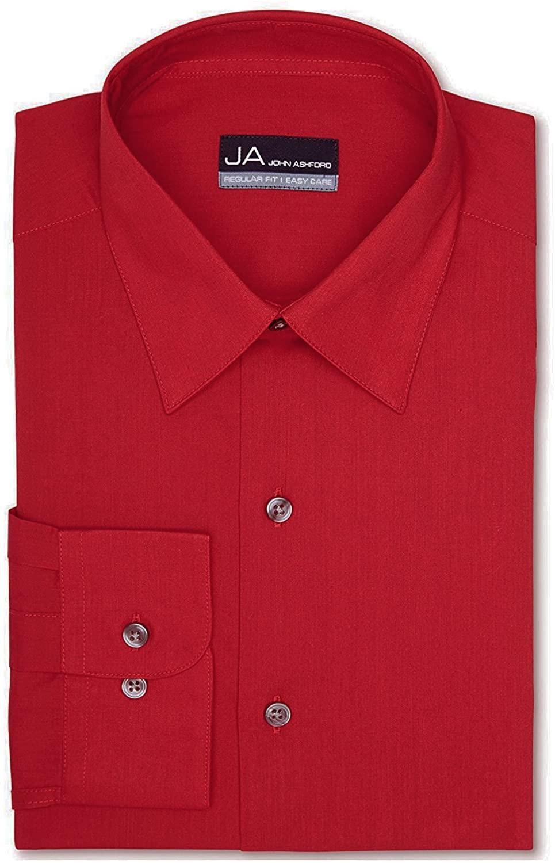 John Ashford Men's Regular-Fit Easy-Care Dress Shirt, Solid Red (15.5 x 32/33, Medium)