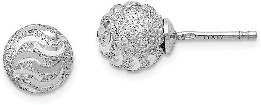 925 Sterling Silver Laser-cut Ball Post Studs Earrings 8mm