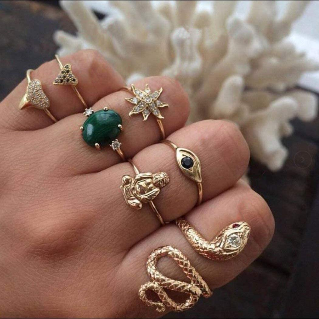 Eollan Boho Gem Joint Knuckle Rings Gold Snake Mid Finger Ring Set Heart Vintage Stackable Rings Jewelry for for Women and Girls (7PCS)