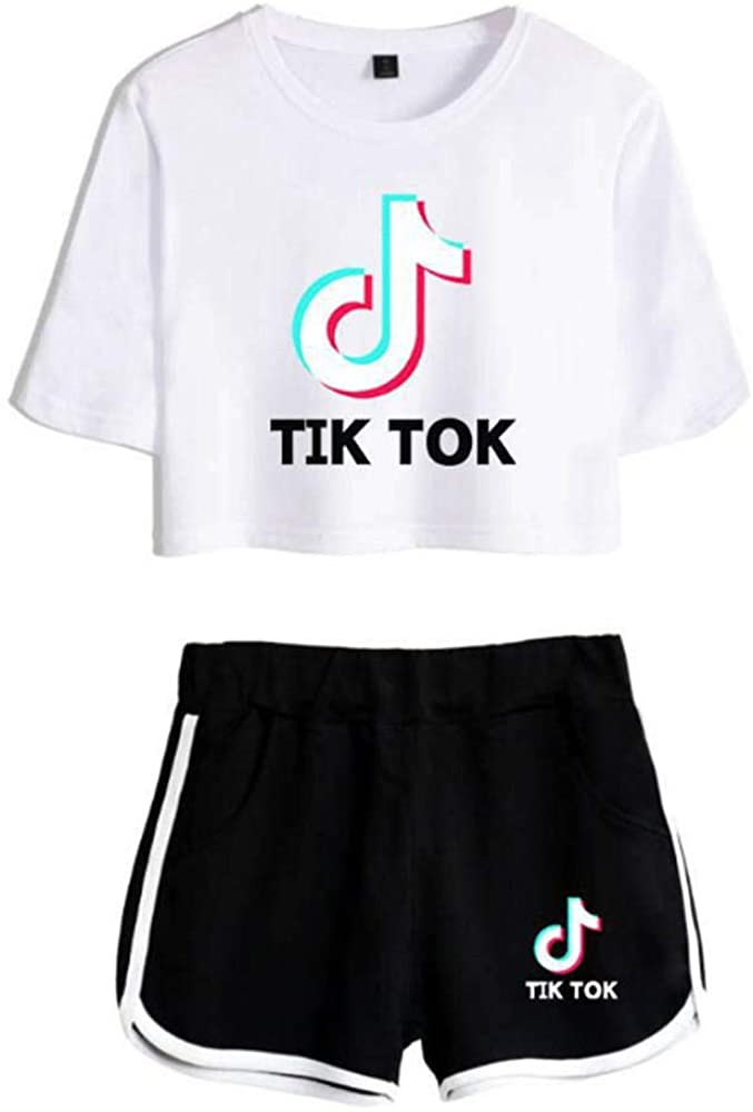 Fashion TIK Tok Short-Sleeved T-Shirt with Shorts 2 Piece Set