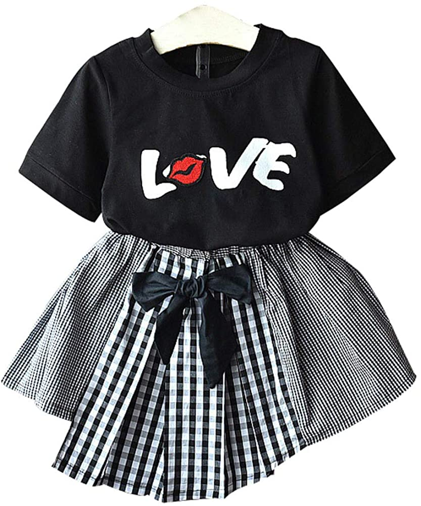 Fashion 2Pcs Kids Toddler Baby Girl Love T-Shirt Top Irregular Plaid Bow Skirt Girl's Summer Clothes Set 1-7T