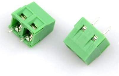 Davitu Terminals - PCB Screw Terminal Block Connector KF127-2P pitch:5.08MM/0.2inch Green 5mm KF127 5.08mm 300V 10A - (Pins: 2P)