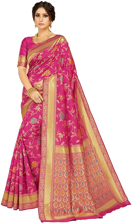 Saree for Women Bollywood Wedding Designer Magenta Sari with Unstitched Blouse.
