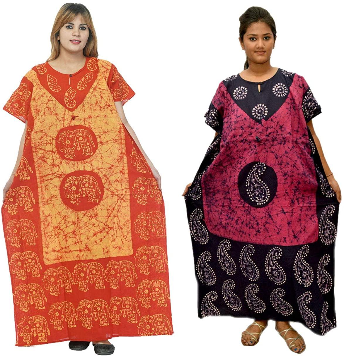 Odishabazaar Cotton Caftan/Kaftan Combo 2 Indian Cotton Batik Bohemian Long Dress