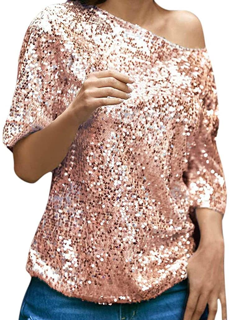 Mikey Store Womens Casual Tops Sequins Sparkle Half Sleeve Oblique T-Shirt Blouse