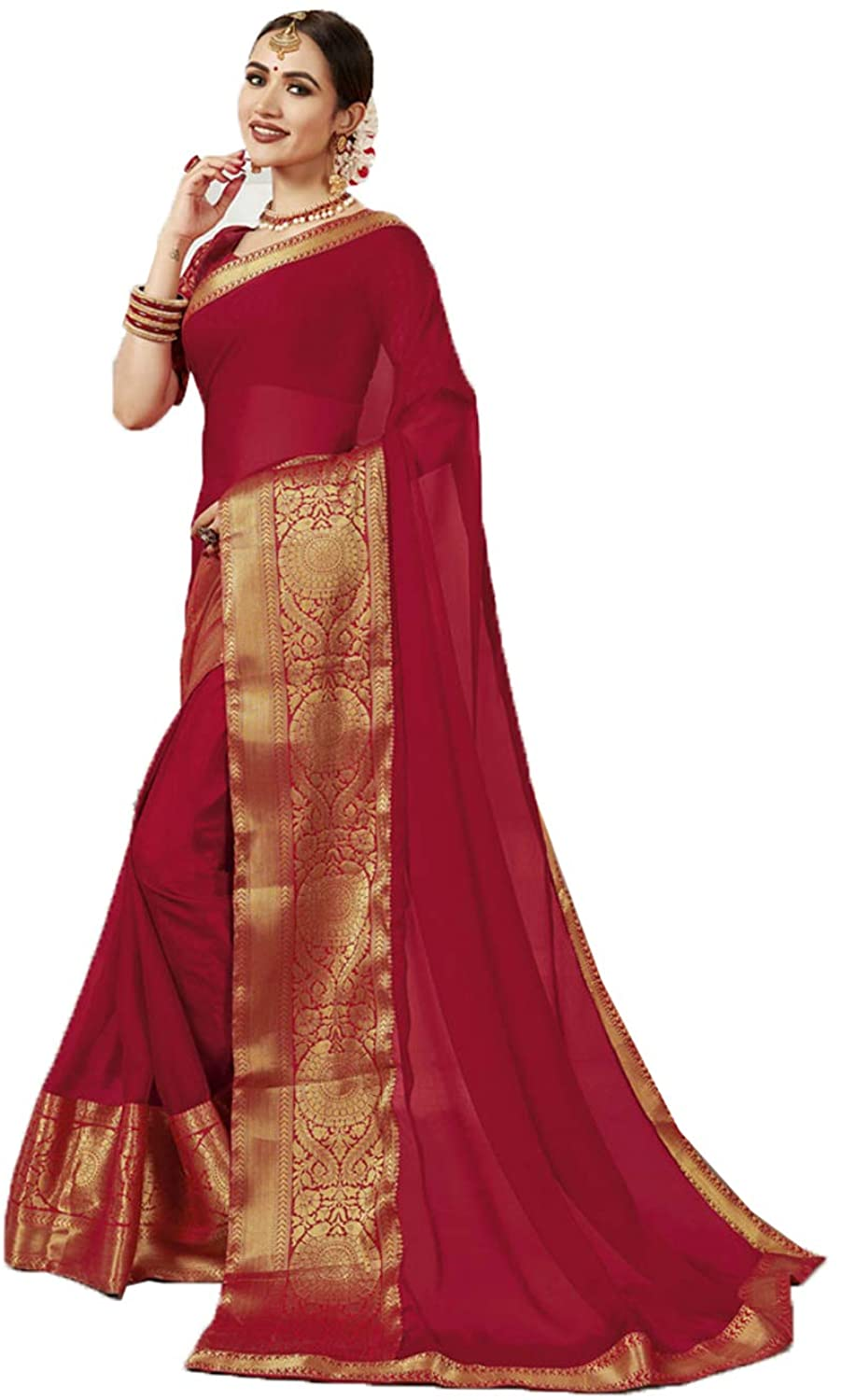 Saree for Women Bollywood Wedding Designer Red Sari with Unstitched Blouse. ICW2559-8