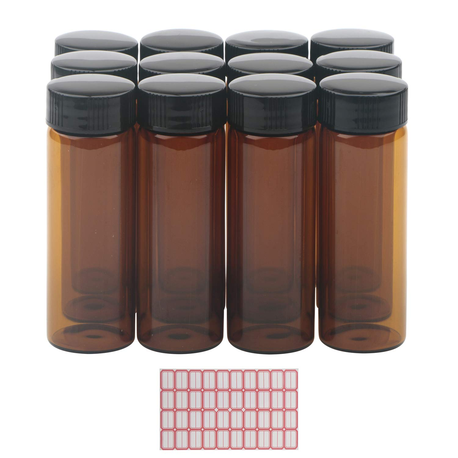 12Pcs 30ML Kesell Amber Brown Glass Bottle with Black Caps for Chemistry Lab Chemicals, Perfume Oils, Reagent, and Other Liquids (Comes with red Handwritten Sticker Paper)