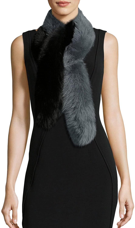 Charlotte Simone Womens Two-Tone Faux-Fur Stole Scarf, Black/Gray