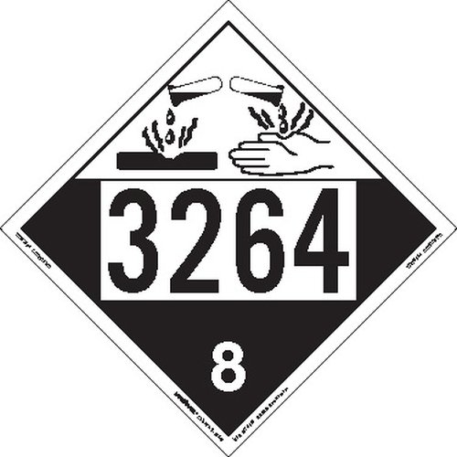 Labelmaster ZEZ43264 UN 3264 Corrosive Hazmat Placard, E-Z Removable Vinyl (Pack of 25)