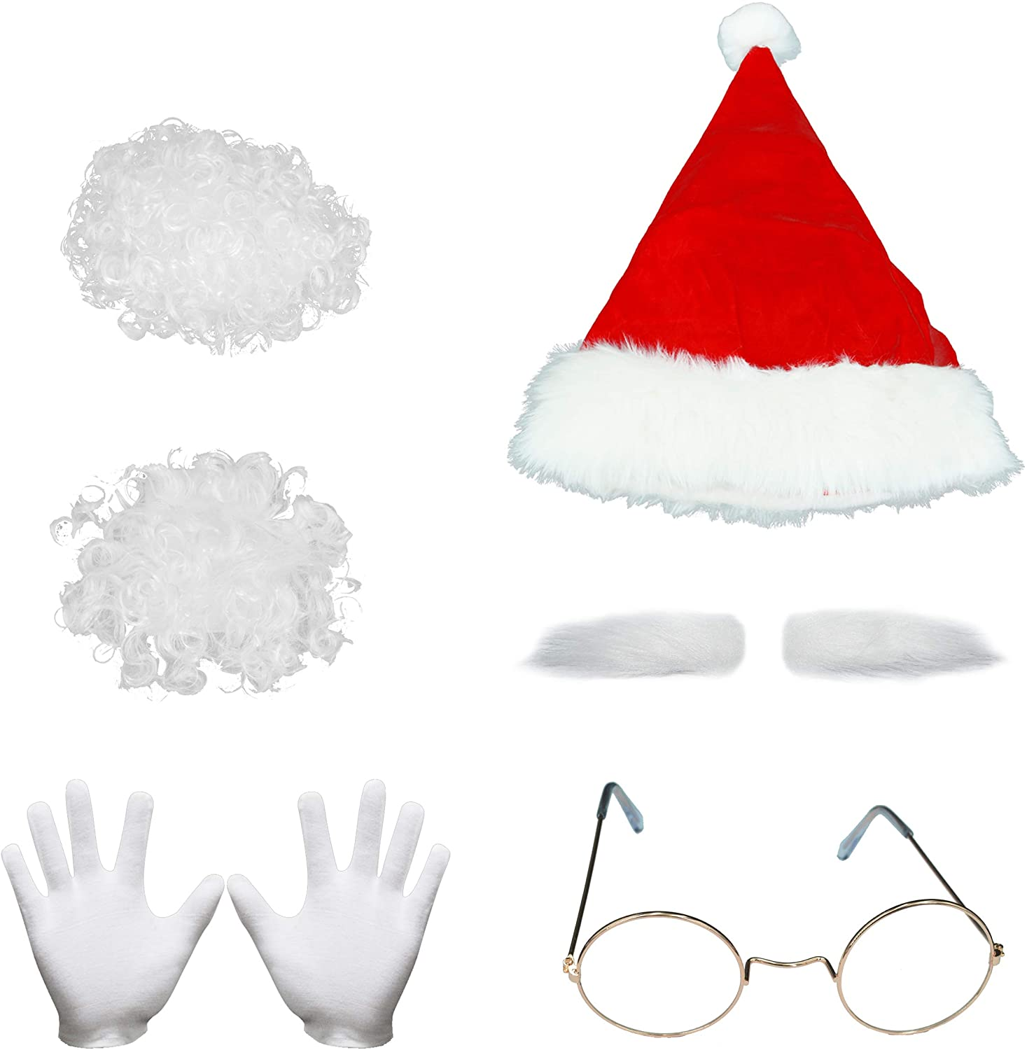 ELFJOY Classic Santa Hat with Santa Claus Accessories Set for Adults Christmas Party Costume