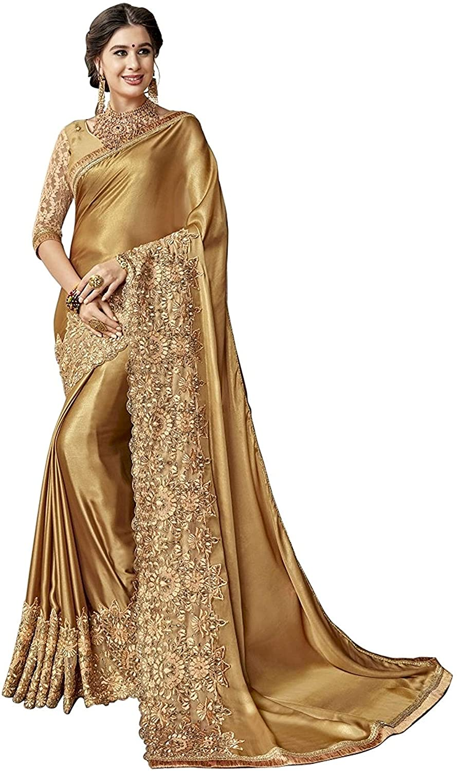 Sarvadarshi Fashion Women's Designer Fabric Lycra embroidery Gold Saree With Unstitched Blouse piece