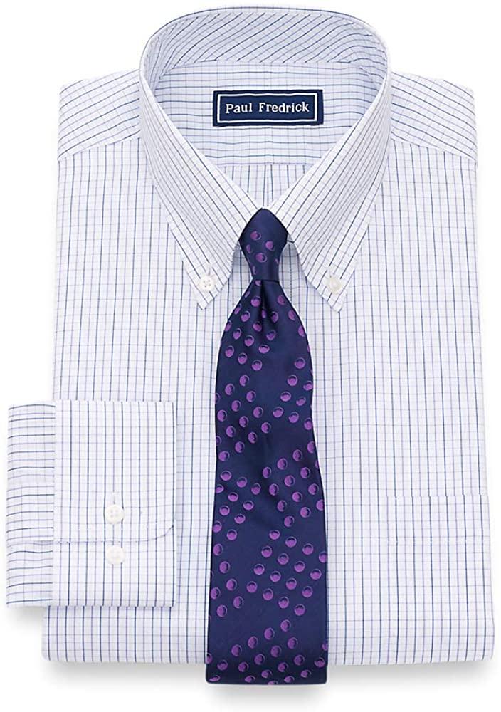 Paul Fredrick Men's Classic Fit Pure Cotton Check Dress Shirt