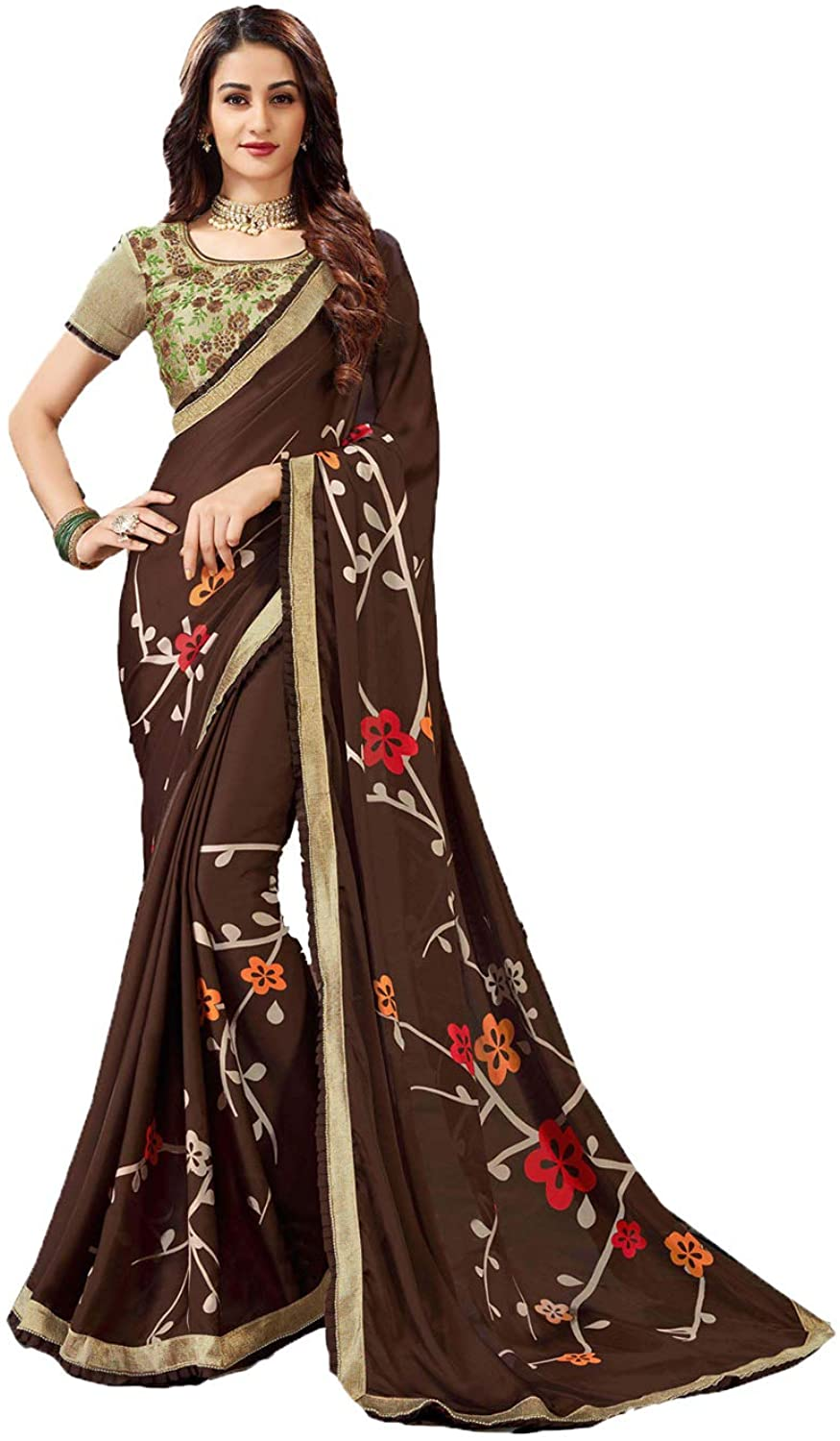 Saree for Women Bollywood Wedding Designer Brown Sari with Unstitched Blouse. ICW2535-2