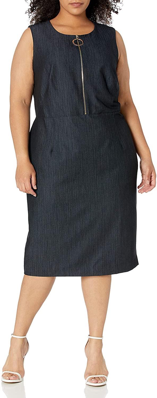 Calvin Klein Women's Plus Size Sleeveless Sheath with Zipper Front Dress