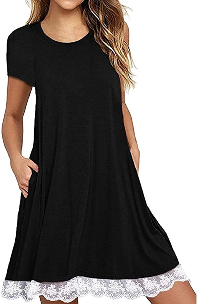 terbklf Women Casual Lace Trim Hem O Neck Short Sleeve Above Knee Dress Loose Party Dress Summer Solid Beach Dress